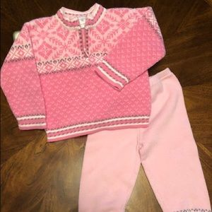 Hanna Andersson pink knit sweater & pant set